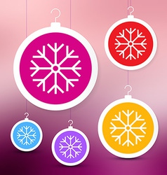 Colorful Paper Christmas Balls on Blurred Abstract vector image