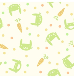 Children cute seamless pattern with rabbits and ca vector