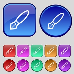 Pen icon sign a set of twelve vintage buttons for vector