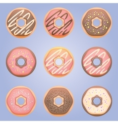 Sweet donut set vector