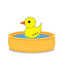Bathtub and a duck isolated object background vector