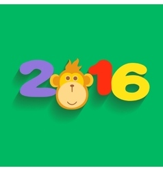 Happy new year 2016 with monkey flat design vector