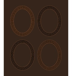 Set of four oval meander frames vector