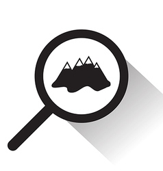 Magnifying glass with mountain icon vector