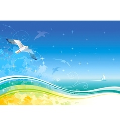 Sea background with ship and seagulls vector