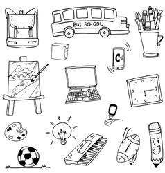 Doodle of object school bus laptop ball vector