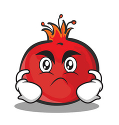 Angry face pomegranate cartoon character style vector
