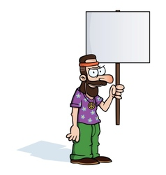 Angry hippie with protest sign vector image vector image