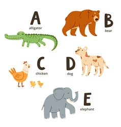 Animal alphabet letters a to e vector image
