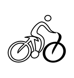 Athlete figure human with bicycle icon vector