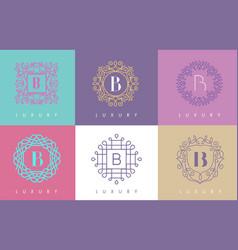 b letter pastel floral monogram lines logo design vector image vector image