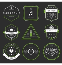 Badges Rock Rap Classical and Disco Music vector image vector image