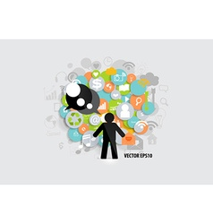 Business concept with businessman and cloud of vector
