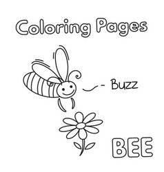 cartoon bee coloring book vector image vector image