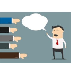 Cartoon businessman with negative feedback vector image vector image