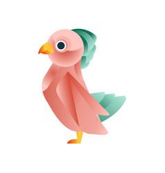 Colorful tropical bird stylized geometric animal vector