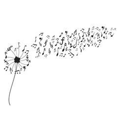 dandelion with music notes vector image vector image