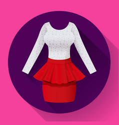fashionable womens clothing dress with baska red vector image vector image