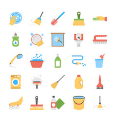 flat icon set of dishwashing and floor wipers vector image