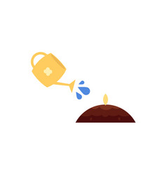 Flat watering can pouring water ground seed vector