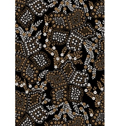Floral pattern embroidery on a black background vector