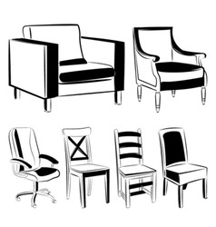 Furniture black version vector