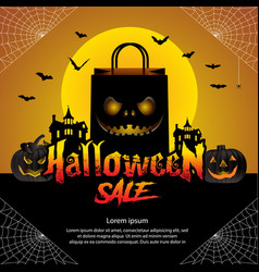 halloween sale offer design concept vector image vector image