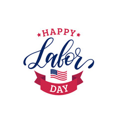 Happy labor day sale card poster with hand vector