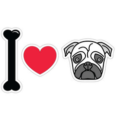I love pugs in color plain vector