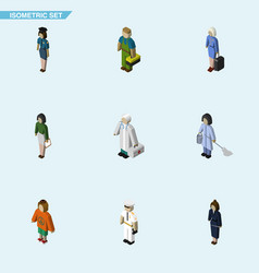 Isometric human set of pedagogue policewoman vector