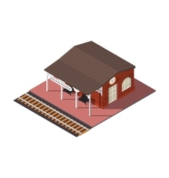 isometric railway station vector image