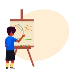 Little boy painting sun and rainbow on easel with vector