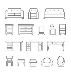 Living room furniture line icons set vector