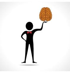 Man holding brain icon vector image