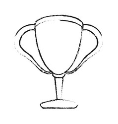 Monochrome blurred silhouette with trophy cup vector