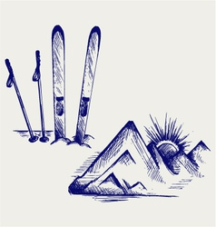 Mountains and ski equipments vector