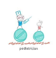 Pediatrician pediatrician runs with a syringe vector