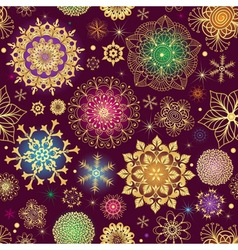 Purple Christmas seamless pattern with snowflakes vector image vector image