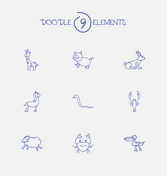set of 9 editable animal doodles includes symbols vector image
