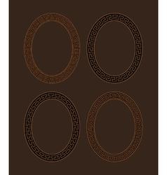 Set of four oval meander frames vector