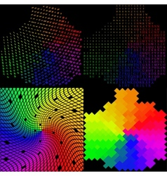 Set of Multicolored mosaic abstract background vector image