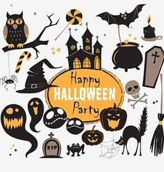 Set of vintage happy halloween flat icons vector