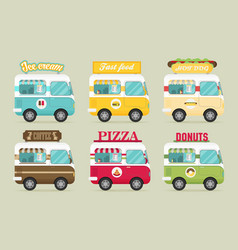 Street fast food truck set flat design vector