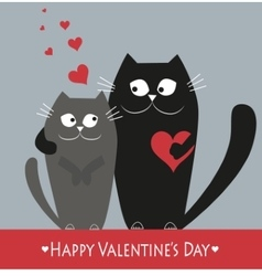 Valentains day decoration with two cats vector