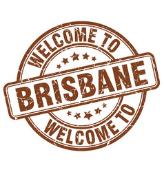 Welcome to brisbane brown round vintage stamp vector
