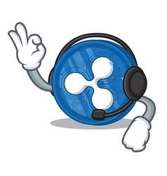 With headphone ripple coin character cartoon vector