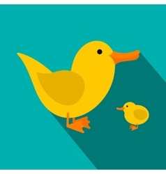 Yellow ducklings flat icon vector