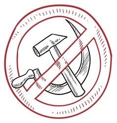 doodle hammer sickle communism no warning vector image