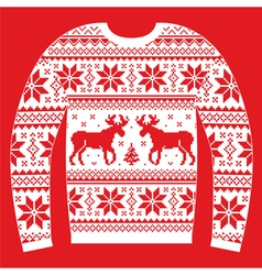 Ugly christmas jumper or sweater with reindeer and vector