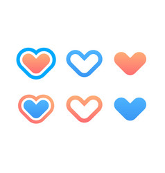 set of hearts icons vector image